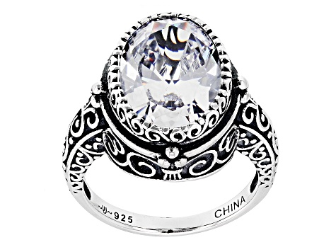 Pre-Owned White Cubic Zirconia Rhodium Over Sterling Silver Ring 9 38ctw