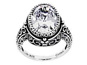 Pre-Owned White Cubic Zirconia Rhodium Over Sterling Silver Ring 9.38ctw