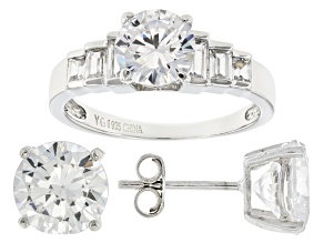 Pre-Owned White Cubic Zirconia Rhodium Over Sterling Silver Ring And Earrings 10.00ctw