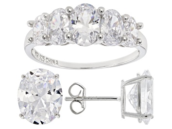 Picture of Pre-Owned White Cubic Zirconia Rhodium Over Sterling Silver Ring And Earrings 10.40ctw