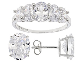 Pre-Owned White Cubic Zirconia Rhodium Over Sterling Silver Ring And Earrings 10.40ctw