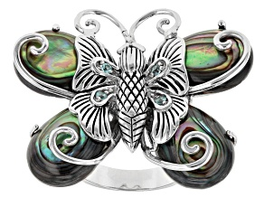 Pre-Owned Multi Color Abalone Shell Sterling Silver Butterfly Ring. .06ctw