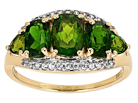 Pre-Owned Green Chrome Diopside 10k Yellow Gold Ring 2.31ctw.