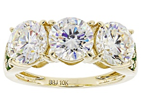 Pre-Owned White Strontium Titanate 10k Yellow Gold Ring 5.49ctw