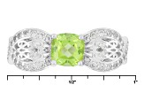 Pre-Owned Green Peridot Sterling Silver Ring 1.33ctw