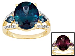 Pre-Owned Womens Solitaire Ring Created Alexandrite White Diamond 6.50ctw 10k Gold