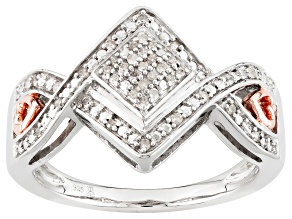 Pre-Owned Rhodium And 14k Rose Gold Over Sterling Silver Diamond Ring .10ctw