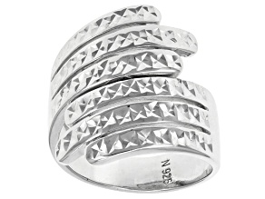 Pre-Owned Rhodium Over Sterling Silver Diamond Cut Three Row By-Pass Ring