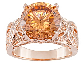 Pre-Owned Champagne And White Cubic Zirconia 18k Rose Gold Over Silver Ring