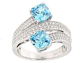 Pre-Owned Blue And White Cubic Zirconia Rhodium Over Sterling Silver Ring 4.42ctw