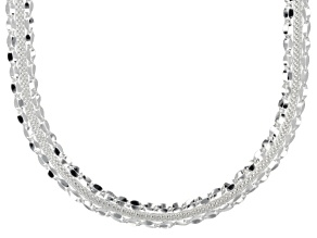 Pre-Owned Sterling Silver Hollow Mirror And Panther Link Necklace 18 inch