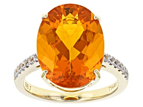 Pre-Owned Orange Brazilian Fire Opal 10k Yellow Gold Ring 5.20ctw