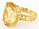 Pre-Owned Yellow Brazilian Citrine 18k Yellow Gold Over Sterling Silver Ring 12.00ct