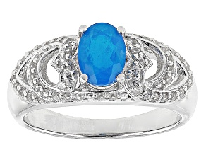 Pre-Owned Blue Ethiopian Opal Sterling Silver Ring. .65ctw