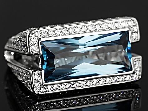 Pre-Owned Blue And White Cubic Zirconia Rhodium Over Sterling Silver Ring 14.84ctw