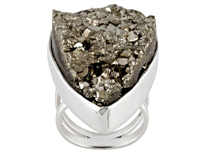 Pre-Owned Golden Pyrite Sterling Silver Ring