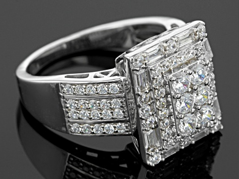 Pre-Owned White Cubic Zirconia Rhodium Over Sterling Silver Ring 2.77ctw