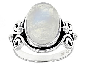 Pre-Owned White Moonstone Sterling Silver Ring