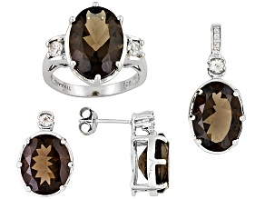 Pre-Owned Womens Earrings Necklace Ring Set Smoky Quartz White Topaz 18ctw Sterling Silver