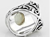Pre-Owned White Rainbow Moonstone Sterling Silver Ring