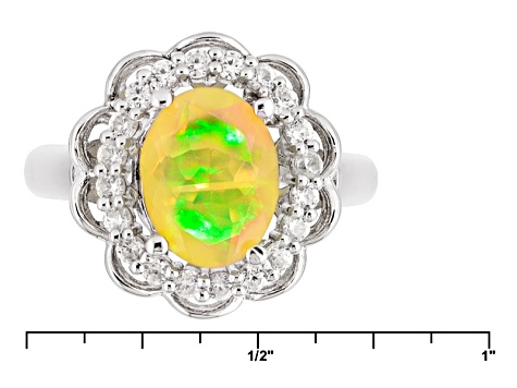 Pre-Owned Ethiopian Opal Sterling Silver Ring 1.13ctw