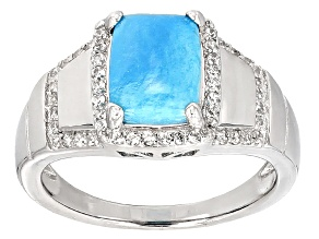 Pre-Owned Blue Turquoise Sterling Silver Ring .38ctw