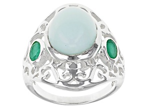 Pre-Owned Green Opal Sterling Silver Ring 5.61ctw