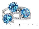 Pre-Owned Blue And White Cubic Zirconia Rhodium Over Sterling Silver Ring 8.46ctw