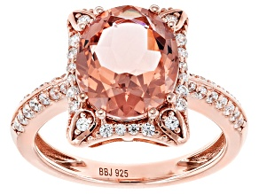 Pre-Owned Morganite Simulant & White Cubic Zirconia 18k Rose Gold Over Sterling Silver Ring 3.64ctw