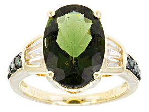 Pre-Owned Green Moldavite 14k Yellow Gold Ring 3.94ctw.