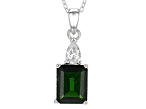 Pre-Owned Green Russian Chrome Diopside Sterling Silver Pendant With Chain 4.13ctw