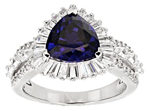 Pre-Owned Blue And White Cubic Zirconia Rhodium Over Sterling Silver Ring 5.74ctw