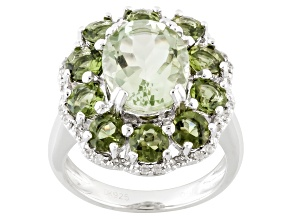 Pre-Owned Green Brazilian Prasiolite Sterling Silver Ring 4.86ctw