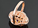 Pre-Owned Morganite Simulant And White Cubic Zirconia 18k Rose Gold Over Sterling Silver Ring 7.96ct
