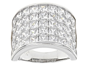 Pre-Owned White Cubic Zirconia Rhodium Over Sterling Silver Ring 12.83ctw