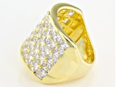 Pre-Owned White Cubic Zirconia 18k Yg Over Sterling Silver Ring 12.83ctw