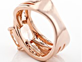 Pre-Owned Morganite Simulant And Brown And White Cubic Zirconia 18k Rose Gold Over Silver Ring 2.18c