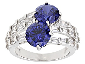 Pre-Owned Blue And White Cubic Zirconia Rhodium Over Sterling Silver Ring 10.12ctw