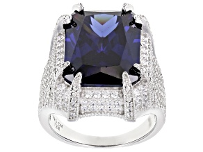 Pre-Owned Blue And White Cubic Zirconia Rhodium Over Sterling Silver Ring 17.40ctw