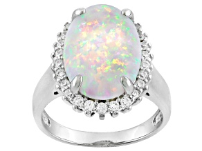 Pre-Owned White Synthetic Opal And White Cubic Zirconia Rhodium Over Silver Ring 2.79ctw