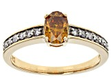 Pre-Owned Orange Sphalerite 10k Yellow Gold Ring 1.07ctw