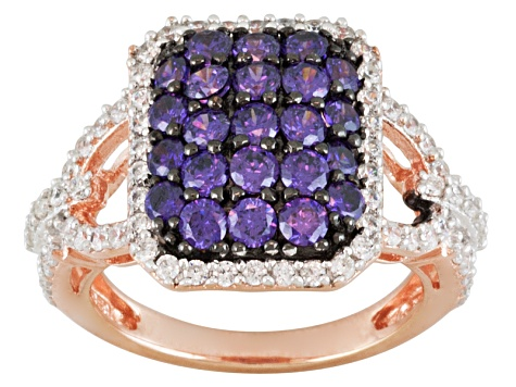 Pre-Owned Purple And White Cubic Zirconia 18k Rose Gold Over Silver Ring 3.15ctw.
