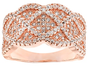 Pre-Owned Cubic Zirconia 18k Rose Gold Over Silver Ring 2.01ctw