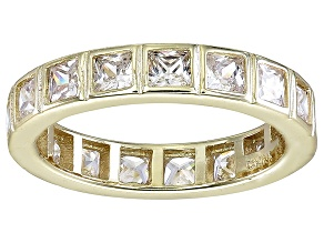 Pre-Owned Bella Luce® 4.00ctw Princess Diamond Simulant 18k Yellow Gold Over Silver Ring