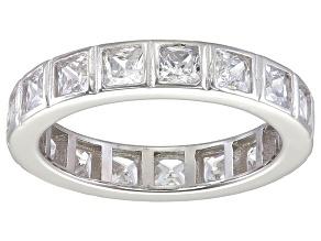Pre-Owned Bella Luce® 4.00ctw Princess Diamond Simulant Rhodium Over Silver Ring
