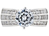 Pre-Owned white cubic zirconia rhodium over sterling silver ring and earrings 12.66ctw