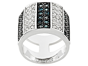 Pre-Owned London Blue And White Topaz Sterling Silver Band Ring 2.44ctw.