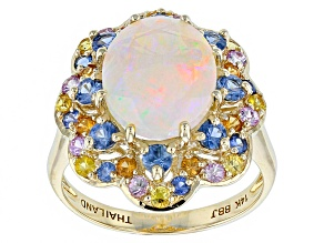 Pre-Owned Ethiopian Opal 14k Yellow Gold Ring 3.29ctw