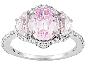 Pre-Owned Pink And White Cubic Zirconia Platineve Ring 4.95ctw