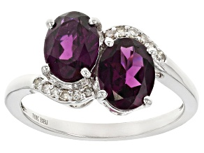 Pre-Owned Grape Color Garnet 10k White Gold Ring 2.85ctw